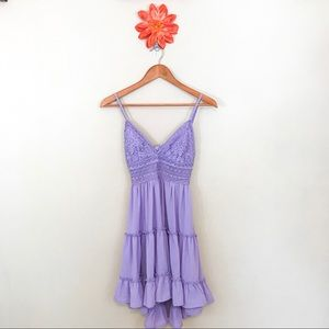NWT PINK LILY Purple Tiered Ruffle Tie Back Dress